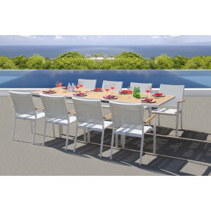Essence White Outdoor Dining Set, 9-Piece