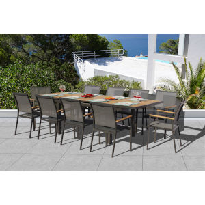 Essence Lava and Pewter Outdoor Dining Set, 11-Piece