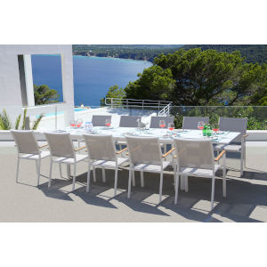 Essence White and Mouse Grey Outdoor Dining Set, 11-Piece