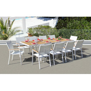 Essence White Outdoor Dining Set with Savoy Extension Table, 11-Piece
