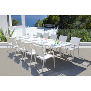 Essence White Outdoor Dining Set, 11-Piece