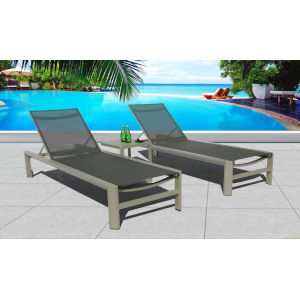 Essence Seagull and Pewter Outdoor Chaise Lounge Set, 3-Piece
