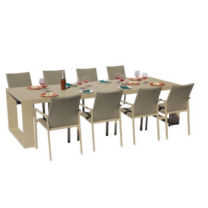 Ritz Cream and Pecan Outdoor Excelsior Dining Set, 9-Piece