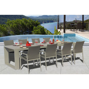 Ritz Seagull and Ash Outdoor Excelsior Dining Set, 9-Piece