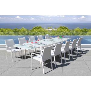 Ritz White Outdoor Dining Set, 11-Piece