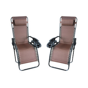 Brown Outdoor Zero Gravity Lounger with Cup Holder, Set of 2