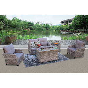 San Miguel Mixed Slate Gray 5 Piece Seating Set with 2 Club Chair, Sofa, Fire Pit, Side Table and 2 Pillow