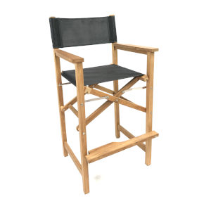 Captain Bar Black Foldable Teak Outdoor Bar Stool