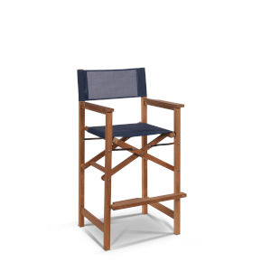 Captain Bar Blue Foldable Teak Outdoor Bar Stool