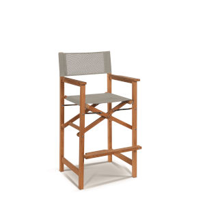 Captain Bar Taupe Foldable Teak Outdoor Bar Stool with Arms and a Taupe Textilene Fabric
