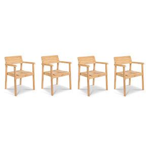 Modurn Nature Sand Teak Teak Outdoor Dining Stackable Armchair, Set of 4