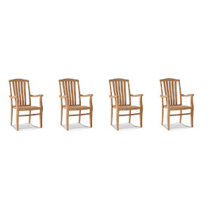 Pacifica Nature Sand Teak Stacking Teak Outdoor Dining Armchair, Set of 4