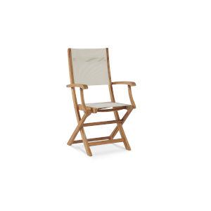 Stella White Teak Outdoor Folding Armchair