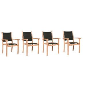 Pearl Black Teak Outdoor Dining Armchair, Set of 4