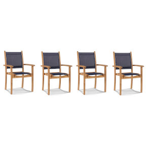 Pearl Blue Teak Outdoor Dining Armchair, Set of 4