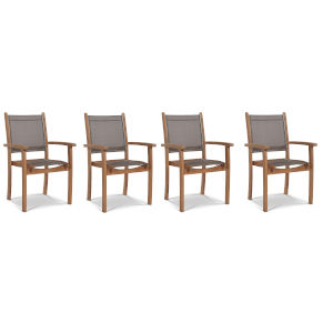 Pearl Taupe Teak Outdoor Dining Armchair, Set of 4