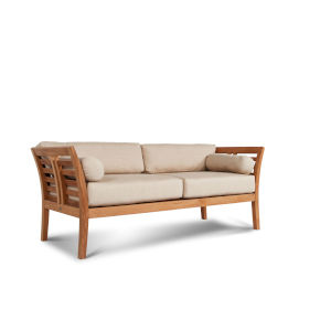 Paris Dupione Sand Three Person Teak Outdoor Sofa with Sunbrella Dupione Sand Cushion