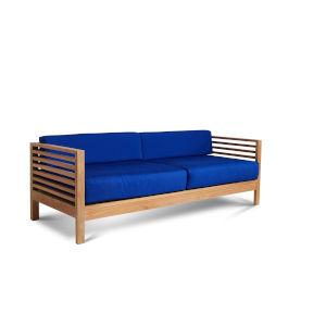 Summer True Blue Three Person Teak Outdoor Sofa, 5-Piece