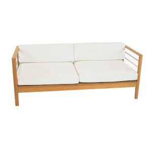 Soho White Three Person Teak Outdoor Sofa