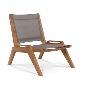 Draper Grey Mesh Fabric Teak Outdoor Sling Chat Chair