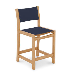 Pearl Natural Sand Teak Navy Outdoor Counter Height Stool
