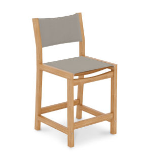 Pearl Natural Sand Teak Taupe Outdoor Counter Height Stool