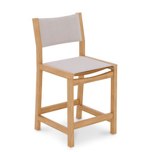 Pearl Natural Sand Teak White Outdoor Counter Height Stool