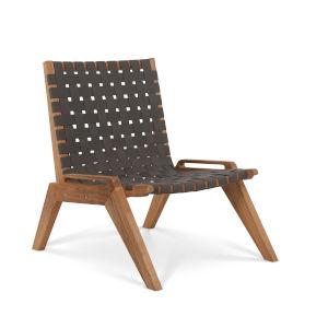 Draper Grey Woven Fabric Teak Outdoor Woven Chat Chair
