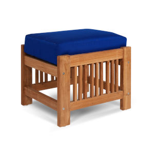 Summer True Blue Teak Outdoor Ottoman