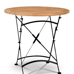 Bistro Nature Sand Teak Foldable Round Teak Outdoor Dining Table with Iron Legs
