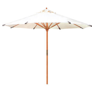 Market White 118-Inch Diameter Teak Umbrella in Sunbrella