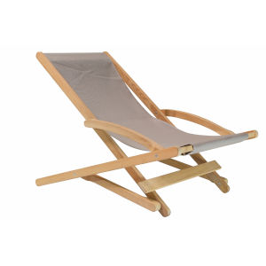 Stella Taupe Teak Folding Outdoor Relaxing Chair