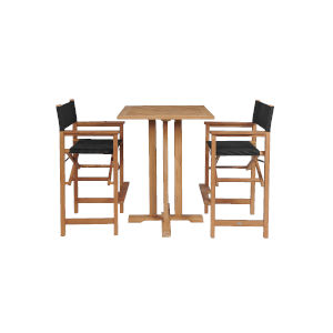 Captain Bar Black Teak Square Bar Height Outdoor Dining Set, 3-Piece