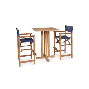 Captain Bar Blue Teak Square Bar Height Outdoor Dining Set, 3-Piece