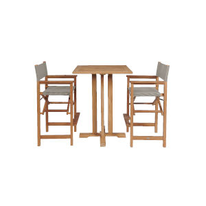 Captain Bar Taupe Teak Square Bar Height Outdoor Dining Set, 3-Piece