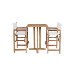 Captain Bar White Teak Square Bar Height Outdoor Dining Set, 3-Piece