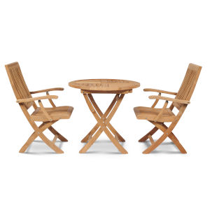 Devon Nature Sand Teak Teak Round Folding Table Bistro Set, 3-Piece