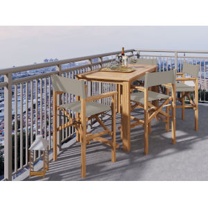 Director Natural Sand Teak Taupe Counter Height Outdoor Set