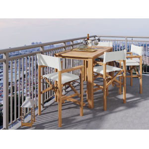 Director Natural Sand Teak White Counter Height Outdoor Set
