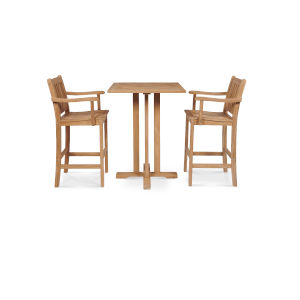 Oasis Nature Sand Teak Teak Square Bar Height Outdoor Dining Set, 3-Piece