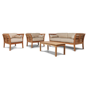 Paris Dupione Sand Teak Outdoor Patio Deep Seating Sofa Set with Subrella Dupione Sand Cushions, 4-Piece