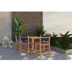 Pearl Natural Sand Teak Blue Counter Height Outdoor Set