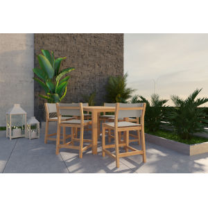 Pearl Natural Sand Teak Taupe Counter Height Outdoor Set
