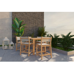 Pearl Natural Sand Teak White Counter Height Outdoor Set