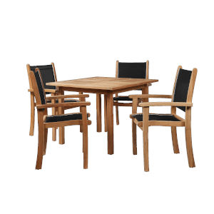 Pearl Black Teak Square Table Outdoor Dining Set, 5-Piece