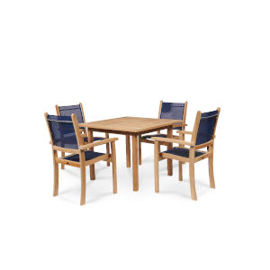 Pearl Blue Teak Square Table Outdoor Dining Set, 5-Piece