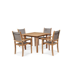 Pearl Taupe Teak Square Table Outdoor Dining Set, 5-Piece