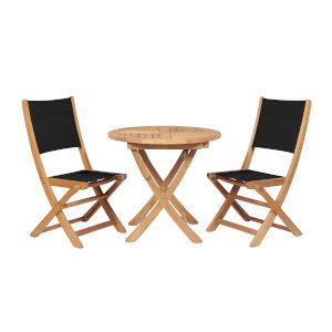 Stella Black Teak Outdoor Round Folding Table and Chair Bistro Set, 3-Piece