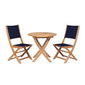 Stella Blue Teak Outdoor Round Folding Table and Chair Bistro Set, 3-Piece