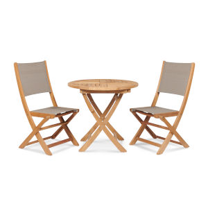 Stella Taupe Teak Outdoor Round Folding Table and Chair Bistro Set, 3-Piece